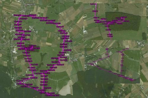 Trasa wycieczki rowerowej uzyskana za pomocą GPSa i Google Earth
